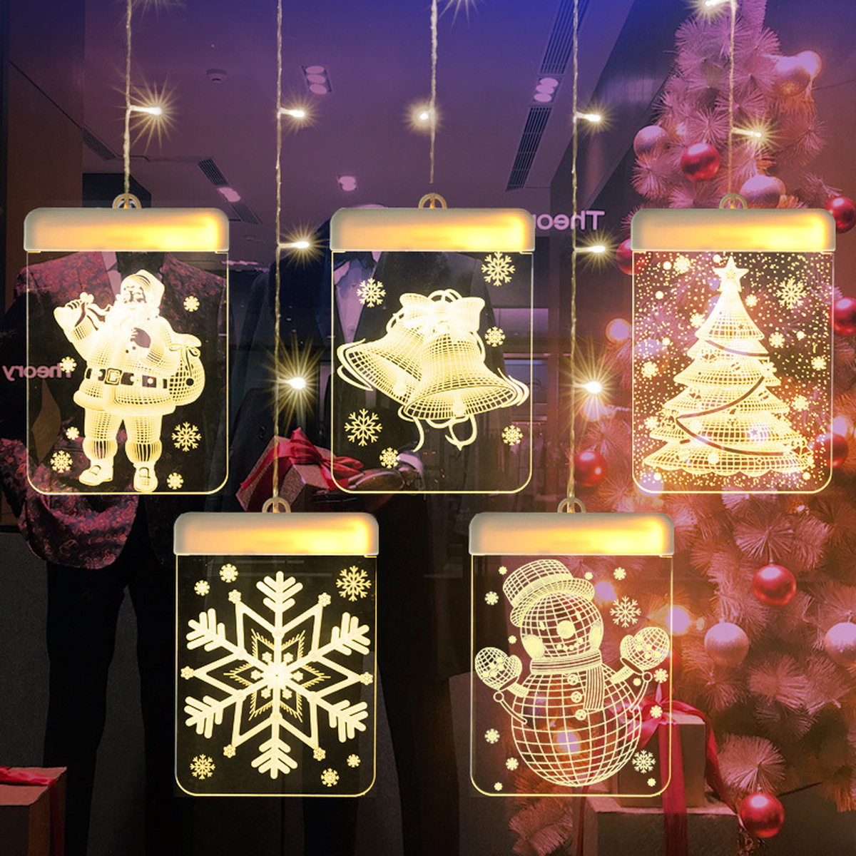 3D Christmas LED Holiday Fairy Lights USB Santa Claus Bell Snowflake Snowman Decoration String Light for Home Garland Window