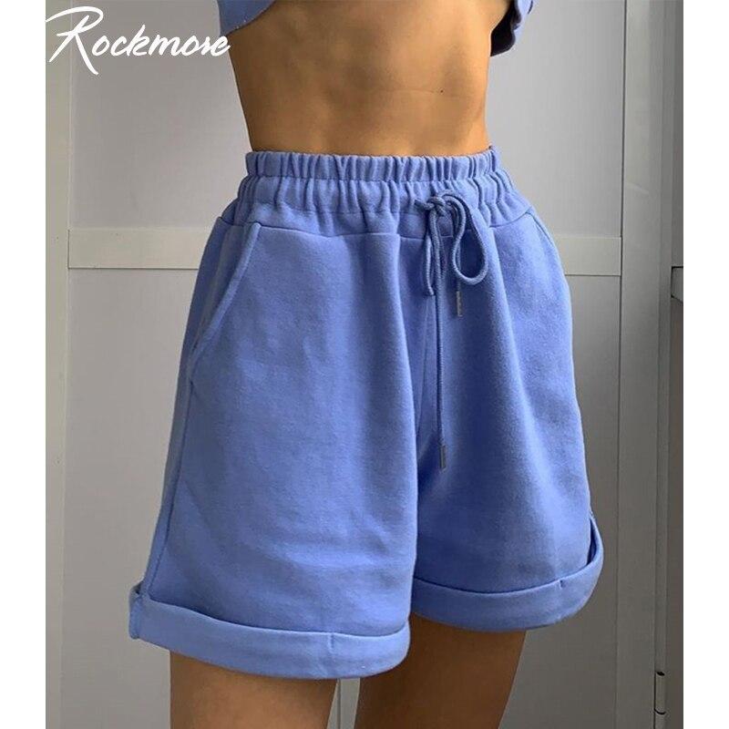 Rockmore Plus Size Drawstring Sweat Shorts Women Solid Harajuku Korean Pockets Streetwear Sweatshorts Casual Short Shorts Ladies 1