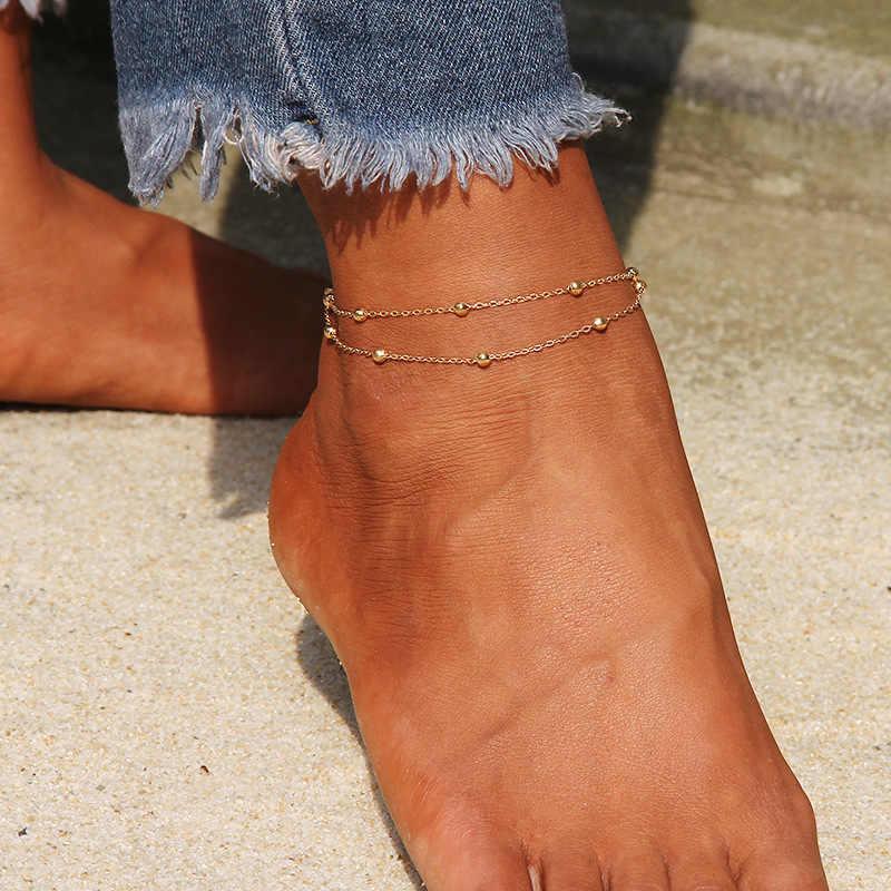 Pulsera de tobillo Simple con forma de corazón, tobillera con cuentas, joyería de pie, tobilleras de playa de verano, pulseras de tobillo para mujer, cadena de pierna