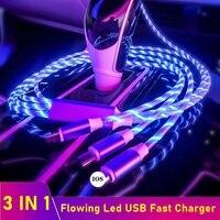 Tongdaytech 3 in 1 USB Cavo del Caricatore Veloce Che Scorre Colori LED di Incandescenza Usb Carregador Portatil Per iPhone Xiaomi Samsung Smartphone