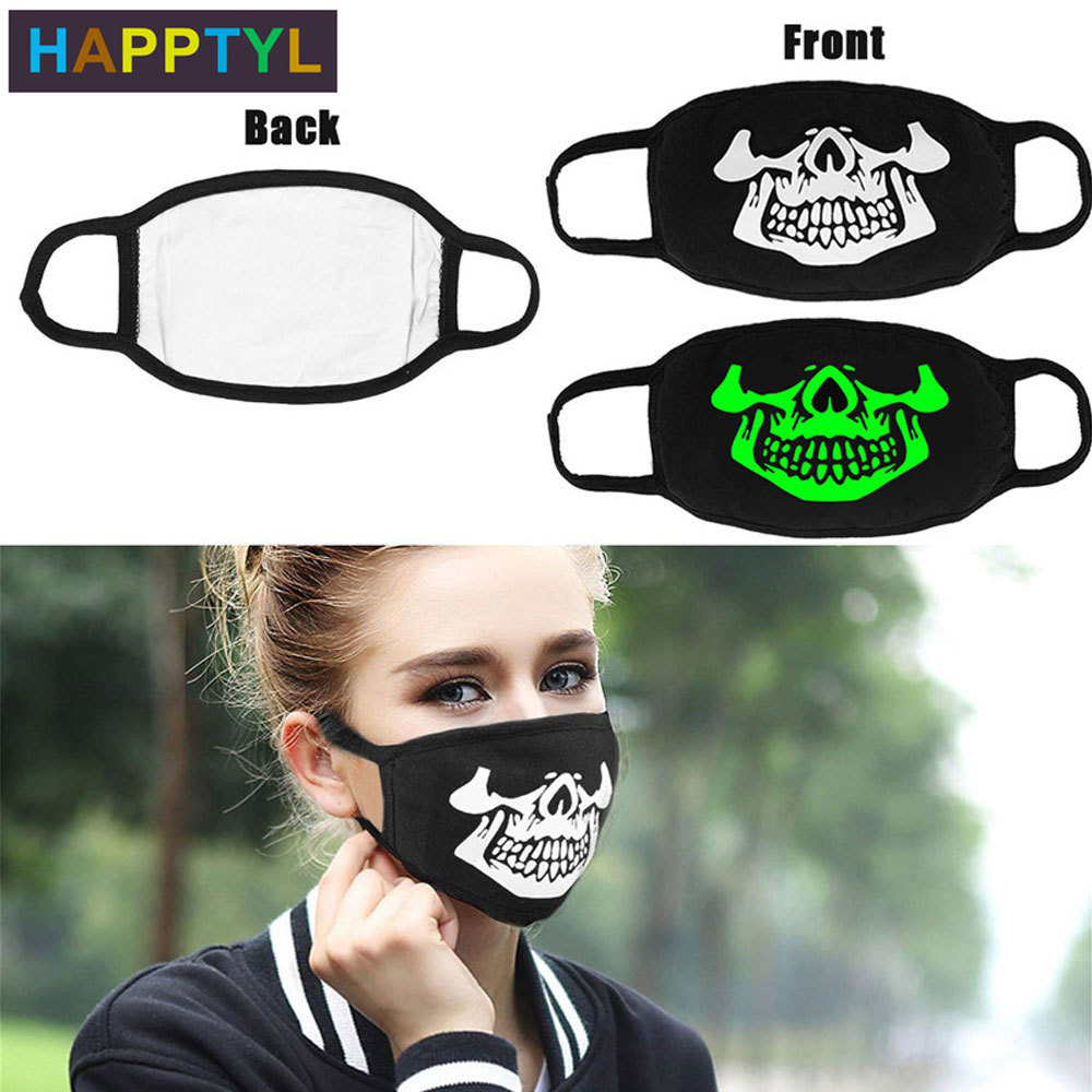 HAPPTYL 1Pcs Face Mouth Mask Cool Luminous Unisex Black Cotton Blend Anti-Dust Face Mouth Mask For Raves, Clubs And Parties