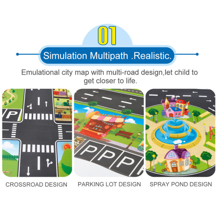 Hb53586a2face48b5b6c6ea70686610059 Hot Selling 130*100cm Children Play Mats House Traffic Road Signs Car Model Parking City Scene Map