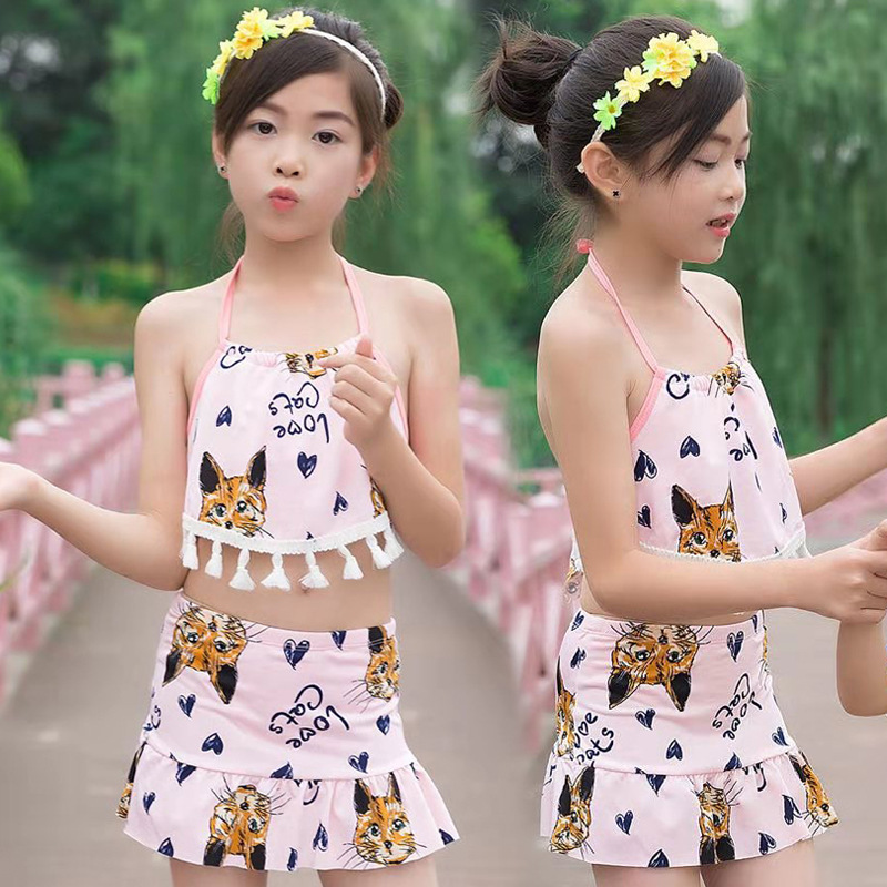Children Swimming Suit GIRL'S Medium And Small Girls 1-12-Year-Old Cute Baby Split Type Hot Springs Swimwear