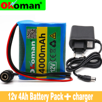 Okoman Nen protection plate battery pack 12V 4000mAh 18650 lithium ion DC12.6V 4AH super rechargeable battery+EU US charger