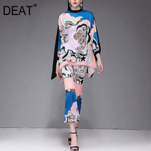 Batwing Fit-Pants High-End-Stand DEAT Elegant Autumn Fashion Print Silk Collar Totem