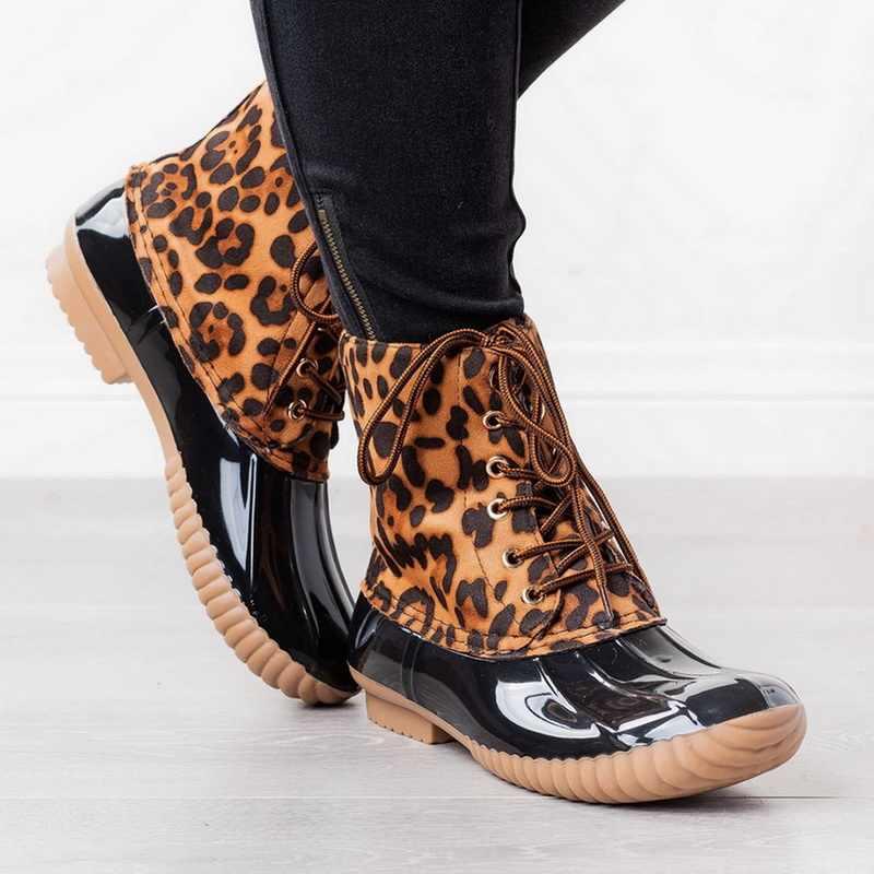 Mujeres Pathckwork PU Casual tobillo botas leopardo estampado encaje arriba Botines Mujer Zapatos de tacón bajo Retro 2019 nuevas mujeres de invierno botas