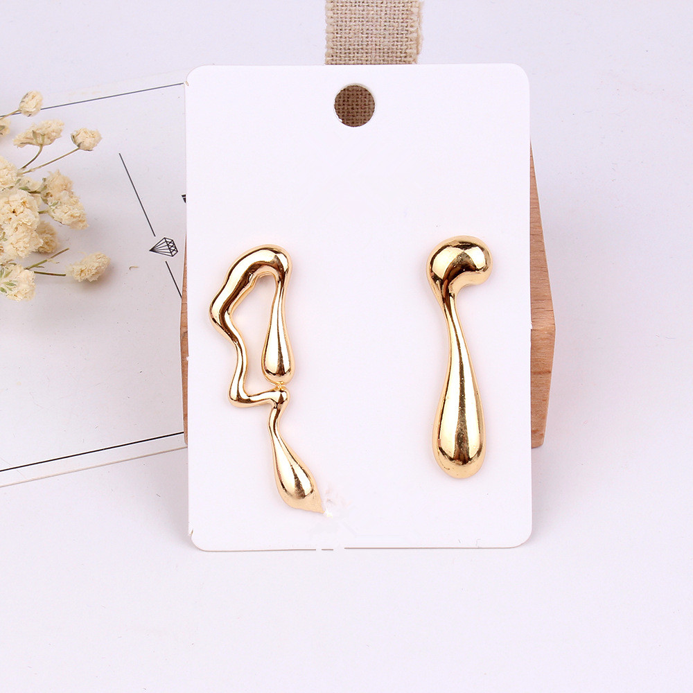 FYUAN 2019 New Design Alloy Asymmetric Earrings for Women Gold Silver Color Abstract Symbol Drop Earrings Fashion Jewelry Gifts