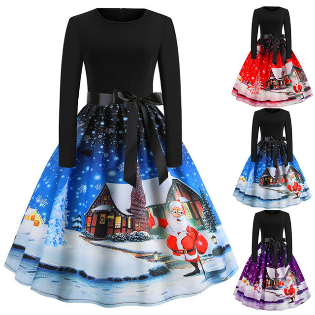 Women Christmas Vintage Print Long Sleeve A-line Zip Up Swing Dress With Belt 1