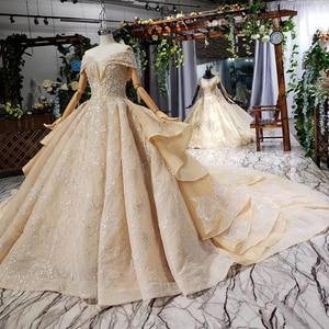 Image 2 - HTL660 short sleeved ball gown wedding dresses cathedral train sequined  off the shoulder wedding dress vestido de casamento