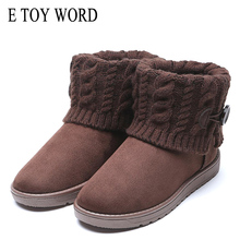 купить E TOY WORD ankle flat booties Woman Winter Snow Boots Warm Wool Cotton Shoes Slip-On round toe Women Shoes Thick Cotton Boots дешево