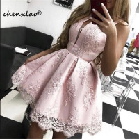 Vestidos Pink Homecoming Dress 2019 A Line Jewel Neck Sleeveless Lace Appliques Above Knee Homecoming Dresses Graduation Gowns