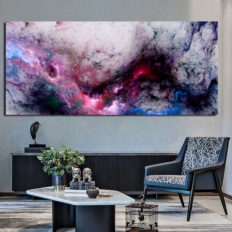 Wangart Black  Purpl Cloud Abstract Oil Painting Think Independe Wall Picture For Living Room Canvas Modern Art Poster And Print