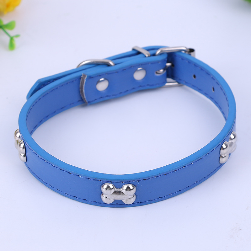 Hot Selling Pet Supplies Bone Leather PU Dog Neck Ring New Style Outdoor Traction Neck Ring