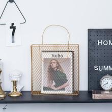 2 цвета 1 шт. сетка металлический стол корзина с ручкой шикарный скандинавский журнал Органайзер украшение дома