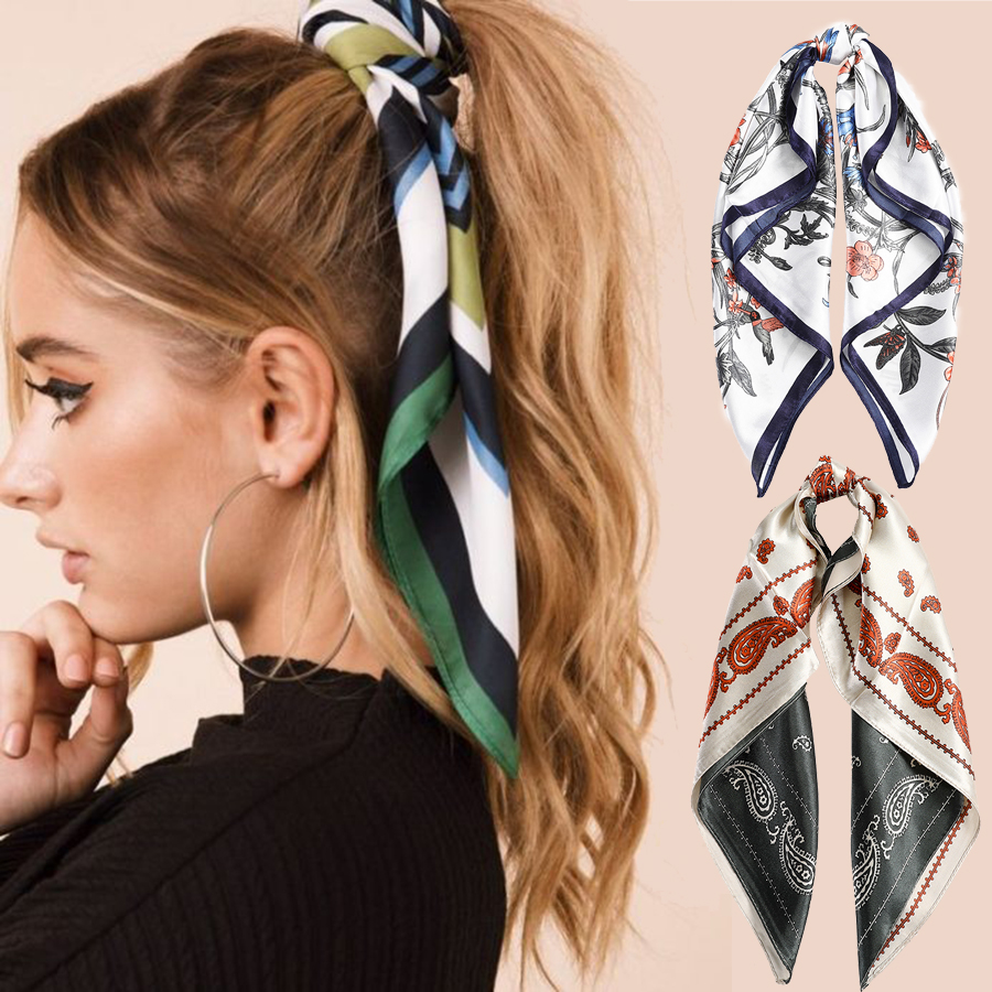 Haimeikang Satin Printed Hair Scarf Square Bandanas Women Hair Accessories Hairbands Soft Summer Headband