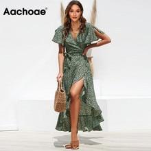 Aachoae Long Wrap Dress 2020 Summer Boho Style Floral Print Maxi Beach Dress Sexy Side Split Party Dress Sundress Vestidos