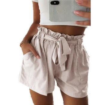 Women's Shorts Bow Tie Belt Shorts Ladies Summer Short Pants Women 2020 Casual A-line Hot Loose Solid Color Short Femme