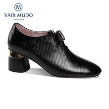 Bombas femininas sapatos de salto alto feminino elegante senhora praça toe clássicos primavera outono preto deslizamento em couro genuíno shoesd108l