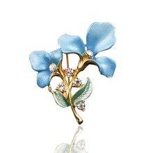 1 pieza broches joyería fina de moda flor Vintage cristal gota Rhinestone Pin mujeres aleación novia Boutonniere