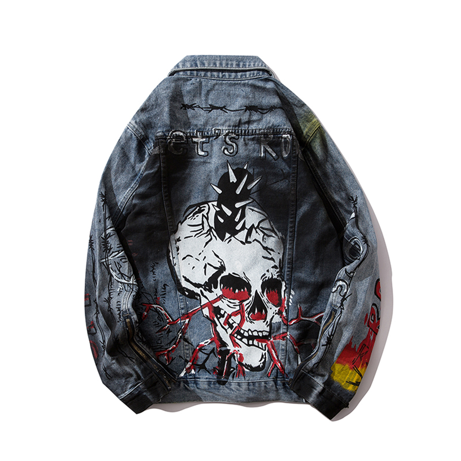 Tie Dye Skull Letter Print Mens Jeans Jackets And Coats Chaqueta Jeans Vintage Hombre Denim Coat Streetwear Bomber Jacket