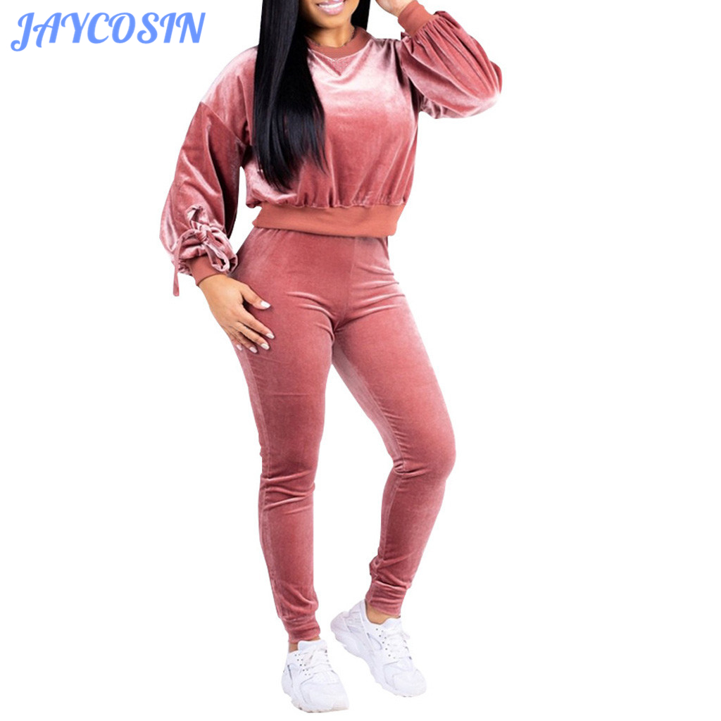 JAYCOSIN Women Set Clothes Tracksuit For Women Solid Two Piece Set O-Neck Long Sleeve Top And Pants Sport Suit Autumn Winter 807