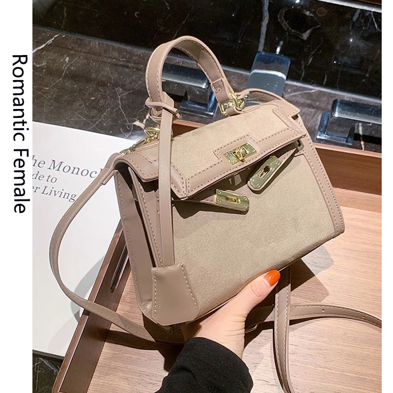 Retro Frosted Small Handbags Women's 2020 Autumn and Winter  Fashion Messenger Bag Internet Celebrity Shoulder Small Square Bag