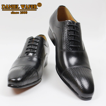 LUXURY BRAND OXFORD SHOES GENUINE LEATHER PRINTED CAP TOE LACE UP POINTED TOE BLACK SHOES WEDDING OFFICE FORMAL DRESS SHOES MEN men dress shoes genuine leather men oxford shoes luxury brand flats wedding oxford lace up loafers bullock shoes chaussure homme