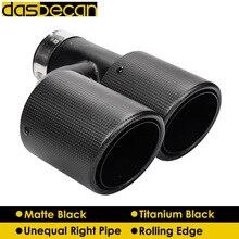 Dasbecan Car Dual Muffler Exhaust Tips Matte Titanium Carbon Fiber Unequal Pipe Rolling Edge End Tip H Model Universal