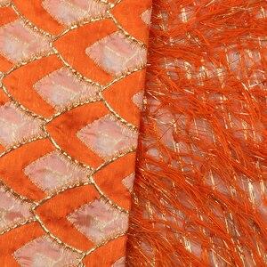 Image 5 - Chất Lượng Tốt Ren Thổ Cẩm Tua Rua Châu Phi Phối Ren Mới Nhất Phổ Biến Người Nigeria Vải Thổ Cẩm Cho Đám Cưới VÁY ĐẦM DẠ APW2918B