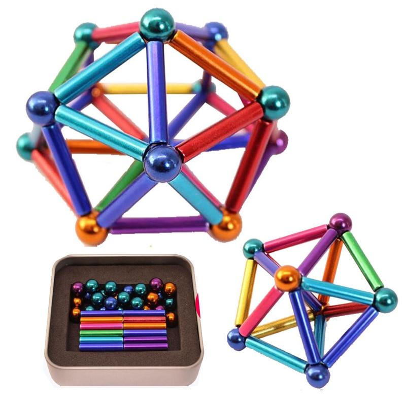 Multi-couleur aimant blocs de Construction barres ensemble de Construction bâtons magnétiques + boule en métal Puzzle empilage jeu Sculpture bureau jouets