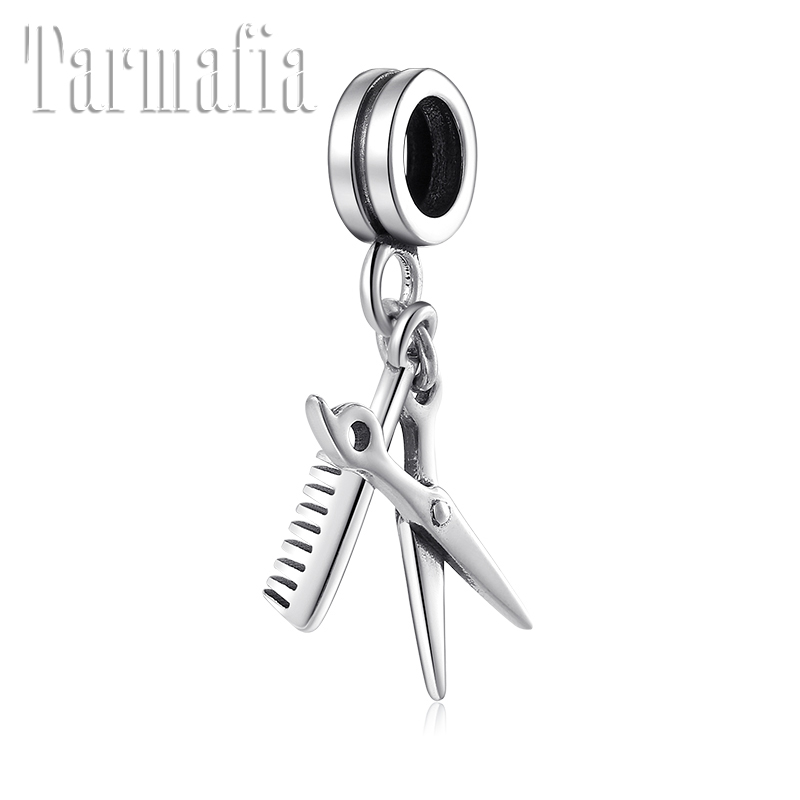 New Real 925 Sterling Silver Comb And Scissors Shape Charm Pendant Jewelry Bead Fit Original Pandora Charm Bracelet Women Making