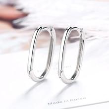 цена Authentic 925 Sterling Silver Smooth Oval Earrings for Women Geometric Wedding Statement Clear CZ Bijoux Fine Jewelry Gift онлайн в 2017 году