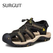 SURGUT/Классические мужские кожаные ботинки мягкие, удобные сандали мужские летние туфли 2021 новые сетчатые Одежда высшего качества в римском стиле; Сандалии; Обувь для мужчин; Большие размеры 47