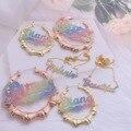 Custom Bling Neckalce Bamboo Hoop Earrings Custom Earrings Bling Name Earrings Custom Name Necklace For Women