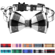 Breakaway Cat Collar with Bow Tie and Bell Cute Plaid Patterns Kitty Safety Collars Detachable Adjustable Pet Collars For Kitty contrast tied bell cuff and collar plaid dress