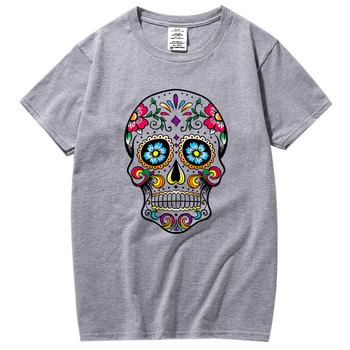 XIN YI Men Fashion Casual Top Quality short sleeve 100% cotton loose skull design printed Tshirt mens tshirt short sleeve new mens colors short sleeve cotton tshirt henry kissinger quote absence
