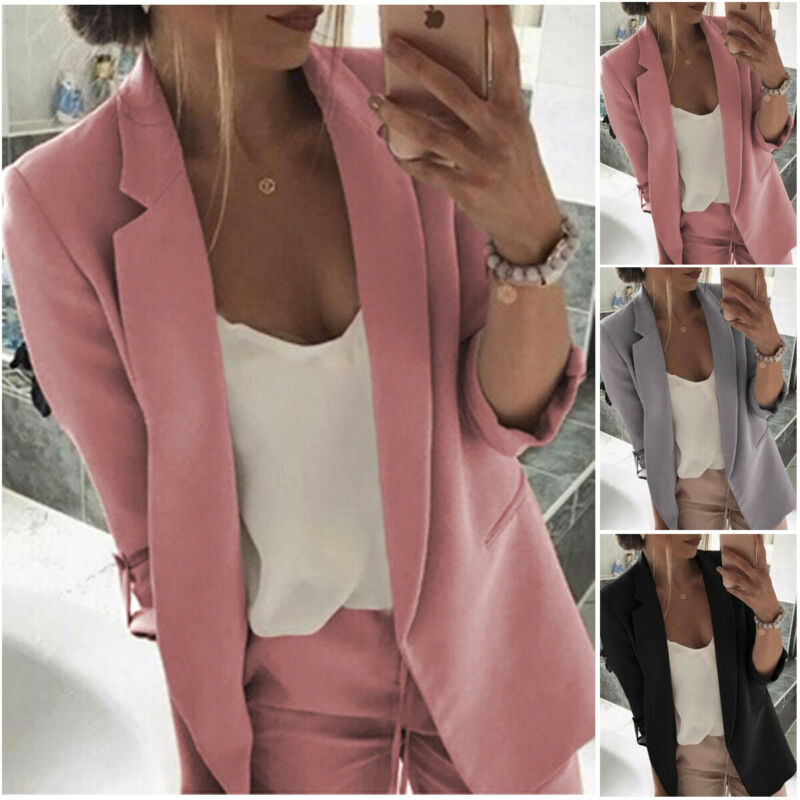 2020 Women Blazer Casual Long Sleeve Blazers Open Front Office Lady Suit Jacket OL Lapel Coat Cardigan Blazers Formal Blazers