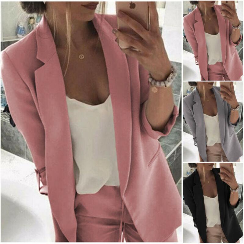 Women Blazer Casual Long Sleeve Blazers Open Front Office Lady Suit Jacket OL Lapel Coat Cardigan Blazers Formal Blazers