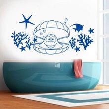 Marine Life Sea Ocean Animal Coral Starfish Fish Seashell Wall Sticker Vinyl Home Decoration Bathroom Nautical Decals Mural 3670