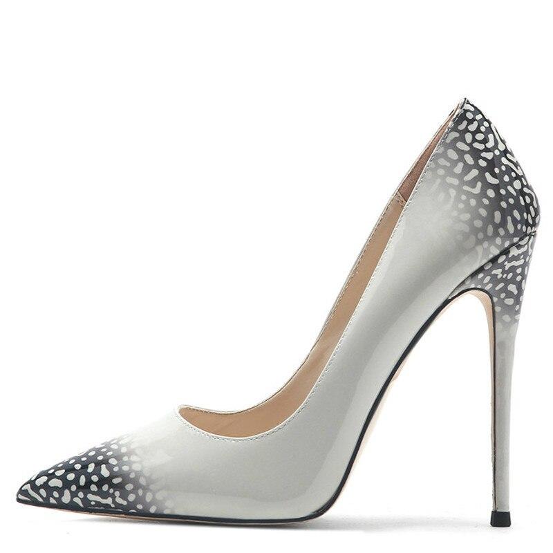 YECHNE Sexy women High heels Shoes Women Wedding shoes Graffiti Pattern Plus Size Party Pumps Mode Be Teen Pumps