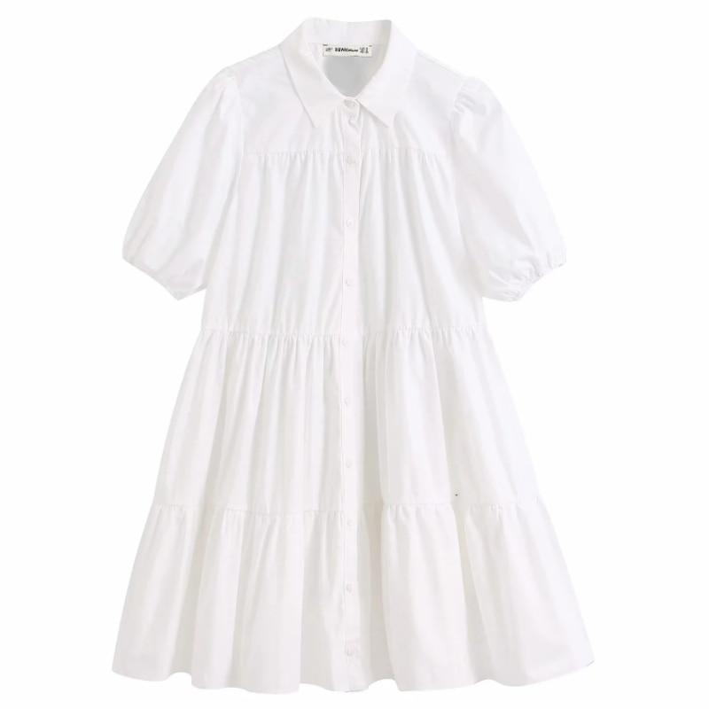 Frauen einfach einfarbig casual weiß shirtdress-gurt-taillen büro dame puff hülse falten vestidos chic freizeit große schaukel kleider DS3438