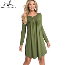 لطيفة للأبد جديد الشتاء عارضة الصلبة اللون مع زر طويلة الأكمام vestidos الإناث فضفاضة المرأة اللباس التحول A172