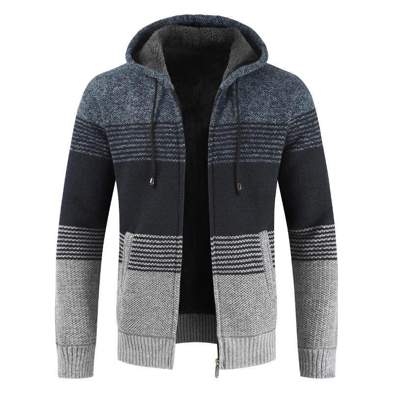 2020 겨울 스웨터 코트 남자 두꺼운 따뜻한 후드 가디건 점퍼 남자 스트라이프 울 라이너 지퍼 양털 코트 남자