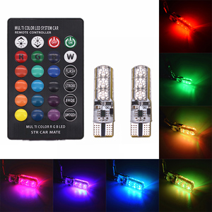 RGB T10 W5W car Led Width lights Colorful Dome Reading Light license plate lights door lights Wedge Lamp With Remote Controller