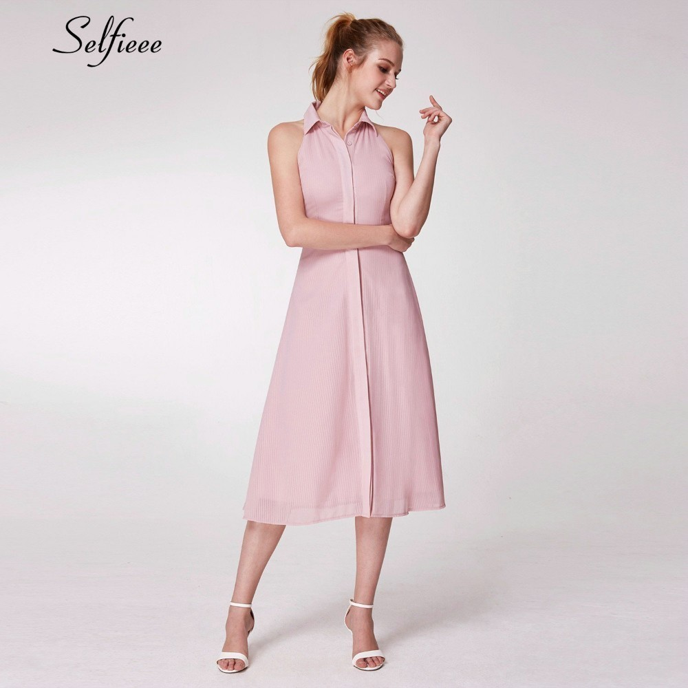 New Pink Casual Women Dresses A Line Stand Neck Sleeveless Ladies Cheap Summer Holiday Beach Dresses Vestidos De Verano 2019 in Dresses from Women 39 s Clothing