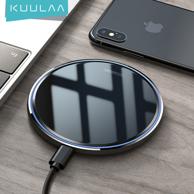 KUULAA 10W Qi Wireless ChargerสำหรับiPhone X/XS Max XR 8 Plusกระจกไร้สายชาร์จPadสำหรับsamsung S9 S10 + หมายเหตุ9 8