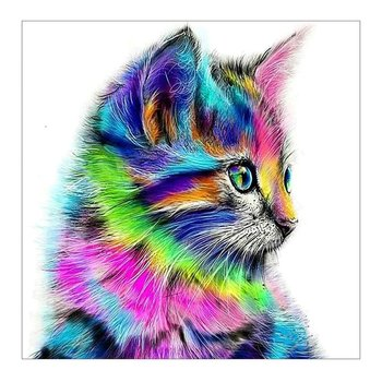 Diamond drawing Full color animal cat butterfly with round diamonds painting Canvas Diamond painting image