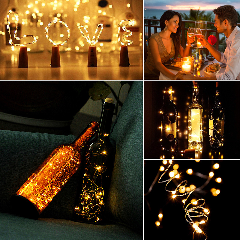 LED Light String Garland Silver Wire Cork Strings Fairy Wire Lights Craft Bottle Christmas Valentines Wedding Decoration