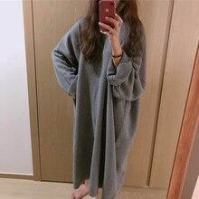 Осеннее длинное платье-свитер; большие размеры; Vestidos Jurken; Прямые Повседневные вязаные платья с круглым вырезом; элегантное вязаное платье; зимнее платье