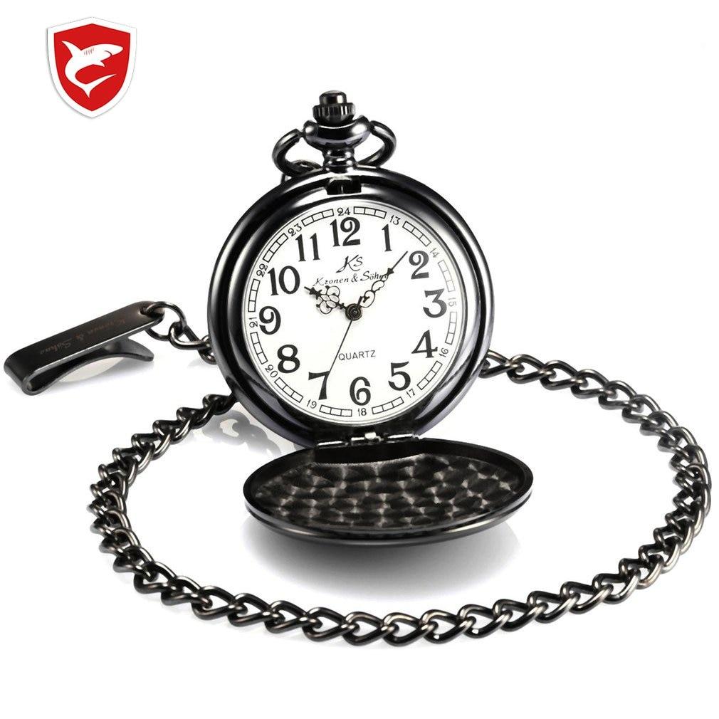 KS Brand Vintage Silver Color Smooth Case White Dial Analog Quartz Relogio Key Long Chain Pendant Men Pocket Watch Jewelry Gift